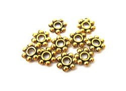 Antiqued Gold Tone Base Metal - Daisy Spacer Beads 4.5mm x100