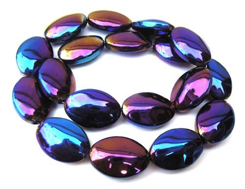 Glass Beads 19x13mm Oval - Jet Iris AB x9