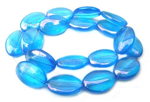Glass Beads 19x13mm Oval - Aquamarine AB x9