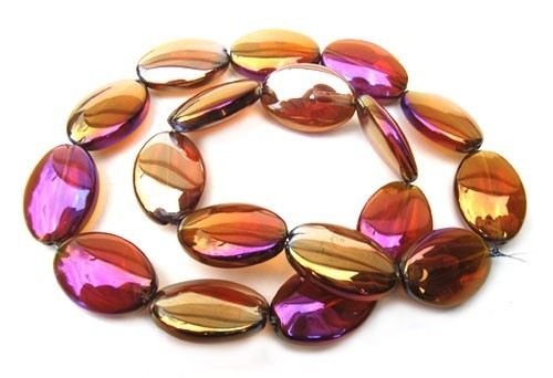 Glass Beads 19x13mm Oval - Light Topaz AB x9