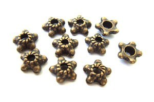 Bead Caps - 6mm Antique Bronze - Star Design x50