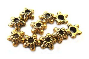 Bead Caps - 6mm Antique Gold Tone - Star Design x50
