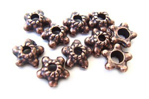Bead Caps - 6mm Antique Copper Tone - Star Design x50