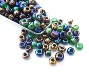 Glass Seed Beads 8/0 - 3mm Iris Mix 50g