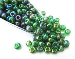 Glass Seed Beads 8/0 - 3mm Iris Emerald Green 50g