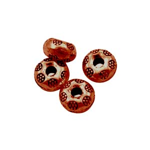 Antiqued Copper Tone 9x5mm Thai Style Donut Beads x10