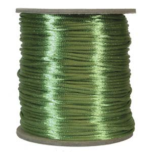 Rattail 2mm Apple Green Kumihimo Satin Braiding Cord x3m