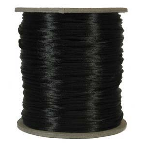Rattail 2mm Black Kumihimo Satin Braiding Cord x1m