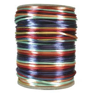 Rattail 2mm Bright Multi Kumihimo Satin Braiding Cord x3m