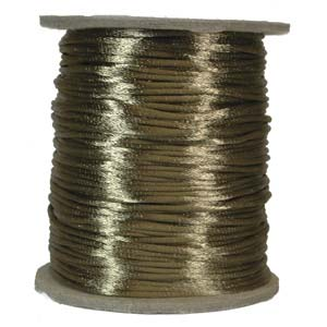 Rattail 1mm Coffee (Kumihimo) Satin Braiding Cord 1 metre