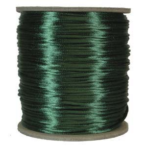 Rattail 2mm Dark Green Kumihimo Satin Braiding Cord x3m