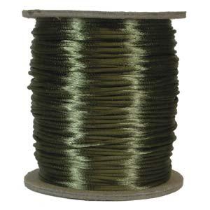 Rattail 3mm Dark Olive (Kumihimo) Satin Braiding Cord 1 metre