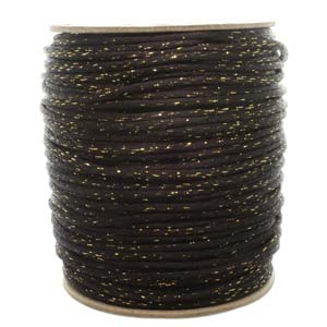 Rattail 3mm Black Gold Metallic (Kumihimo) Satin Braiding Cord 1 metre