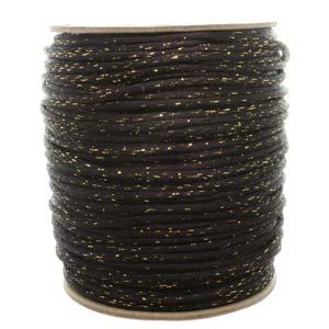 Rattail 3mm Black Gold Metallic (Kumihimo) Satin Braiding Cord 1 metre