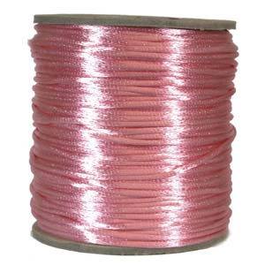 Rattail 2mm Light Pink Kumihimo Satin Braiding Cord x3m