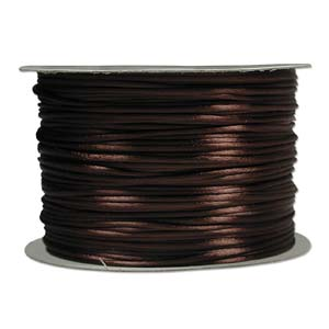 Rattail 2mm Medium Brown Kumihimo Satin Braiding Cord x1m