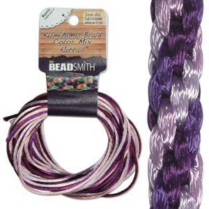 Beadsmith Kumihimo Braid Cord Satin Rattail 1mm Lilac Tones (4 Colours 3 yards each) 12 YD Card