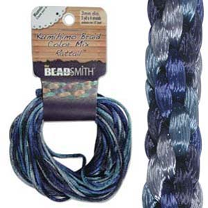 Beadsmith Kumihimo Braid Cord Satin Rattail 3mm Blue Tones (4 Colours 3 yards each) 12 YD Card