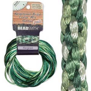 Beadsmith Kumihimo Braid Cord Satin Rattail 2mm Evergreen (4 Colours 3 yards each) 12 YD Card