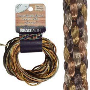 Beadsmith Kumihimo Braid Cord Satin Rattail 3mm Wheatberry (4 Colours 3 yards each) 12 YD Card