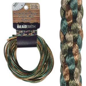 Beadsmith Kumihimo Braid Cord Satin Rattail 3mm EarthTones (4 Colours 3 yards each) 12 YD Card