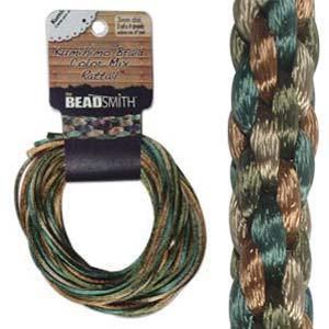 Beadsmith Kumihimo Braid Cord Satin Rattail 3mm EarthTones (4 Colours 3 yards each) 12 YD Card