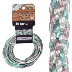 Beadsmith Kumihimo Braid Cord Satin Rattail 3mm Serenity (4 Colours 3 yards each) 12 YD Card