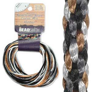 Beadsmith Kumihimo Braid Cord Satin Rattail 3mm Pebblestone (4 Colours 3 yards each) 12 YD Card