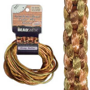 Beadsmith Kumihimo Braid Cord Satin Rattail 3mm Honey Butter (4 Colours 3 yards each) 12 YD Card