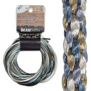 Beadsmith Kumihimo Braid Cord Satin Rattail 3mm Chino (4 Colours 3 yards each) 12 YD Card