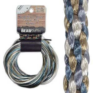 Beadsmith Kumihimo Braid Cord Satin Rattail 3mm Chino (4 Colours 3 yards each) 12 YD Card