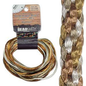 Beadsmith Kumihimo Braid Cord Satin Rattail 1mm Warm Neutrals (4 Colours 3 yards each) 12 YD Card