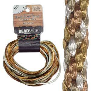 Beadsmith Kumihimo Braid Cord Satin Rattail 3mm Warm Neutrals (4 Colours 3 yards each) 12 YD Card