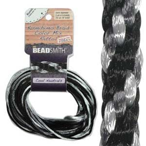 Beadsmith Kumihimo Braid Cord Satin Rattail 1mm Cool Neutrals (4 Colours 3 yards each) 12 YD Card