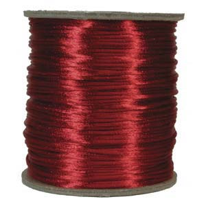 Rattail 1mm Red (Kumihimo) Satin Braiding Cord 1 metre