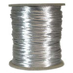 Rattail 2mm Silver Grey Kumihimo Satin Braiding Cord x1m