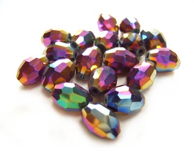 Firepolished Glass Olive Beads 8x6mm Rainbow Iris Metallic (72pc approx)