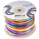 Rat Tail Dazzle It 1mm Rainbow (Kumihimo) Satin Braiding Cord 1 metre