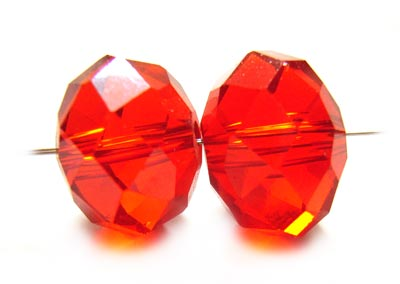 Imperial Crystal Roundelle Beads 12x9mm Red Lustre x20