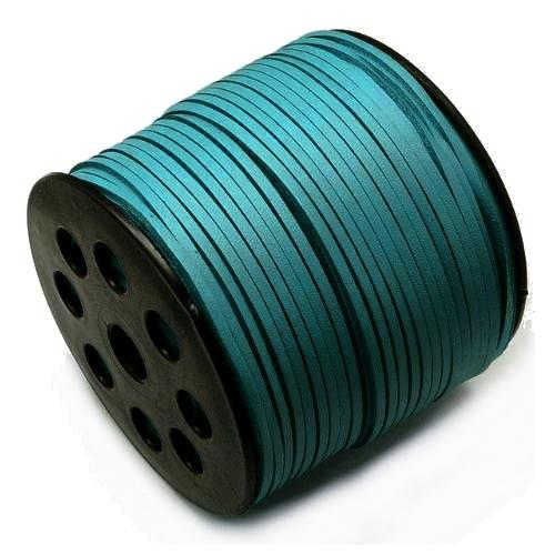 Faux Leather Leatherette Flat Cord 2.7-3mm Teal per metre