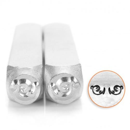 ImpressArt, Flourish L Pair of Ends 6mm Metal Stamping Design Punches