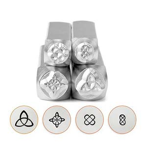 ImpressArt Mandala Celtic Collection (6mm, 4mm) Metal Stamping Design Punches (Triquetra, Quaternary, Square Knot, Round Knot)