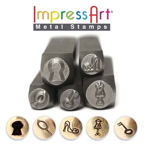 ImpressArt Shabby Chic Collection 6mm/9.5mm Metal Stamping Design Punches (5pc Keyhole, Shoe, Key, Mirror, Dress Form)