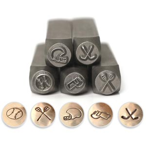 ImpressArt Sports Collection 6mm Metal Stamping Design Punches (5pc Baseball, Helmet, Hockey, Lacrosse, Whistle)