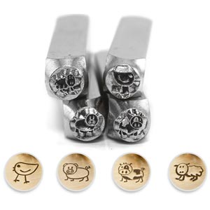 ImpressArt Farm Stick Animals Collection 6mm Metal Stamping Design Punches (4pc Chick, Pig, Cow, Sheep)