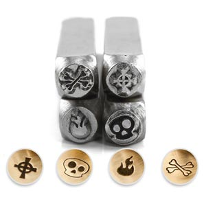 ImpressArt Goth Collection 6mm Metal Stamping Design Punches  (4pc Ghost Skull, Skull Bones, Flame, Cross)