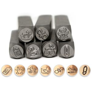 Baby Shower Celebration Collection 6mm Metal Stamping Design Punches ImpressArt (7pc set)