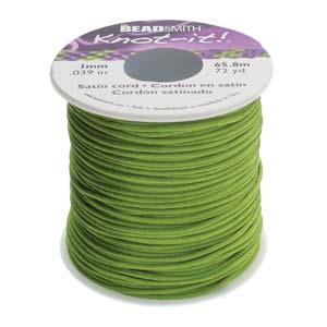 Beadsmith Knot It Rattail Apple Green 1mm Satin Braiding Cord 72yd Bulk Spool