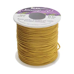 Beadsmith Knot It Rattail Antique Gold 1mm Satin Braiding Cord 72yd Bulk Spool
