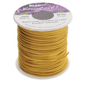 Beadsmith Knot It |Rattail Camel 1mm Satin Braiding Cord 72yd Bulk Spool